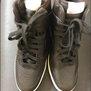 Women's Nike Dark  Brown High Top Athletic Shoe